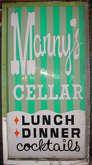 Manny's Cellar Sign